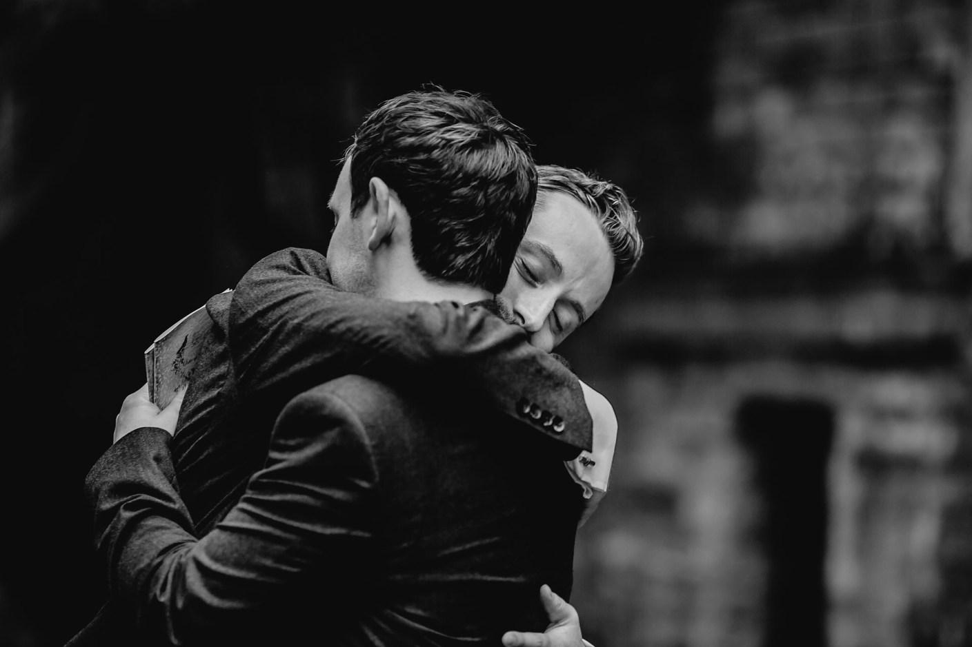 hugging the best man