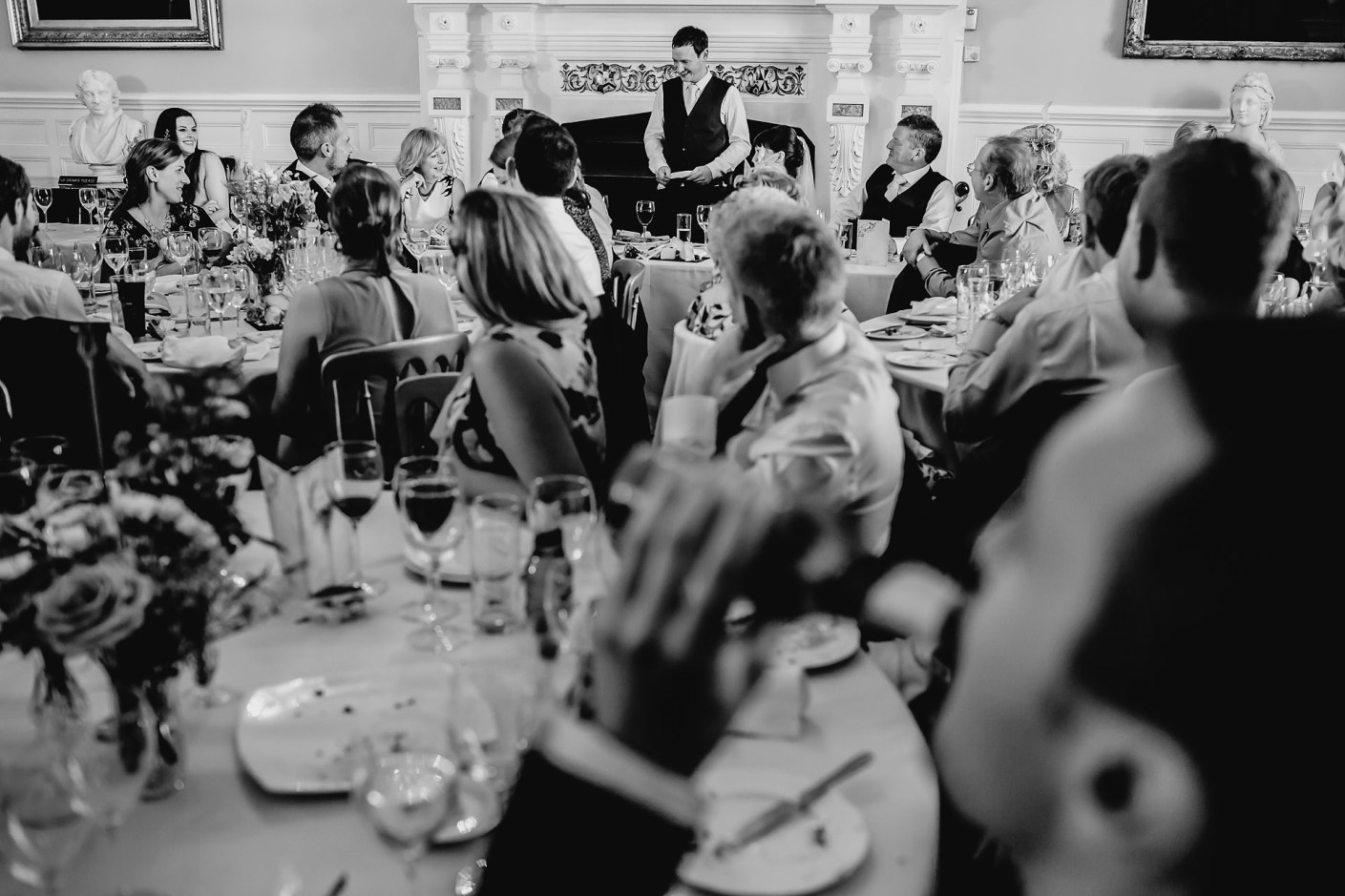 wide angle photo of the best man's speech