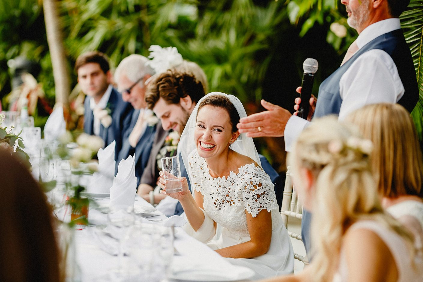 the bride during te speeches