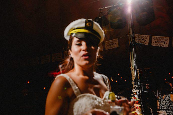 bride in sailor hat