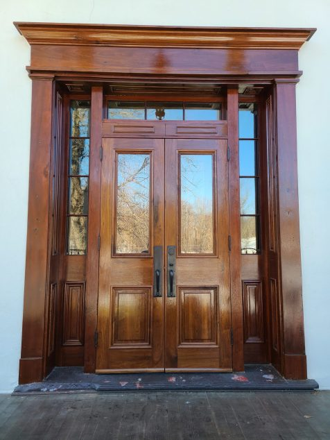 Custom Walnut French Storm Doors