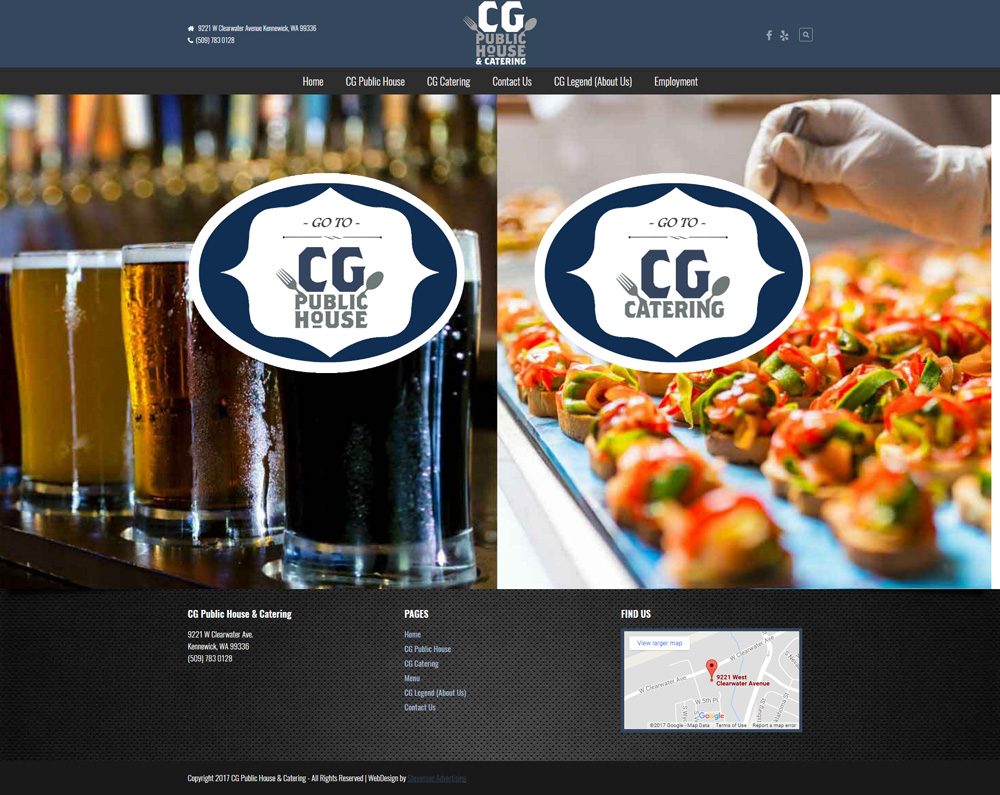 CG Public House & Catering Website Design Tri-Cities