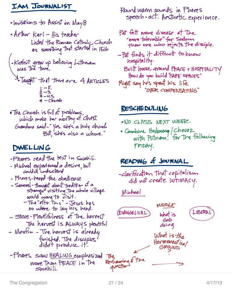 The Congregation | Class Notes | April 17