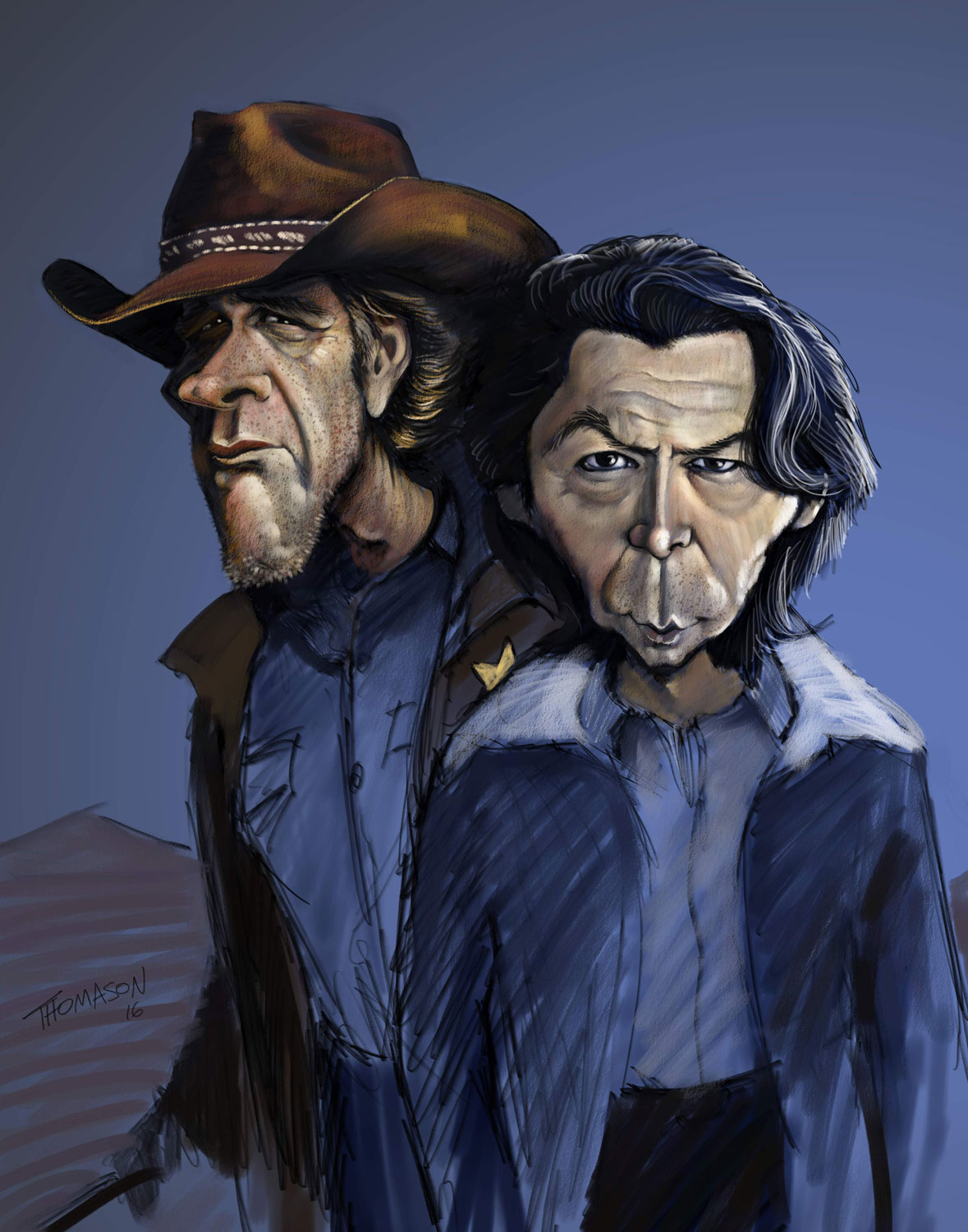 caricature of Longmire and Standing Bear