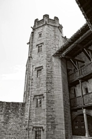 Hexagonal tower with a winding staircase in the Château-Vieux, Lourmarin, France.