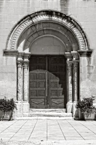 Doorway to the Church of Saint André in the village of Lourmarin, France.