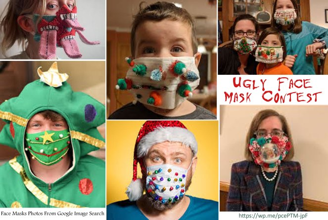 Ugly Face Mask Contest a contest wearing an ugly face mask, just like the Ugly Christmas Sweater Contest. #UglyFaceMask #UglyFaceMaskContest