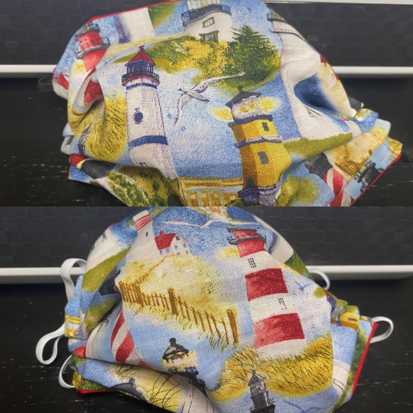 Lighthouses Face Mask - A face mask with all kinds of lighthouses on it. #Lighthouse #Lighthouses