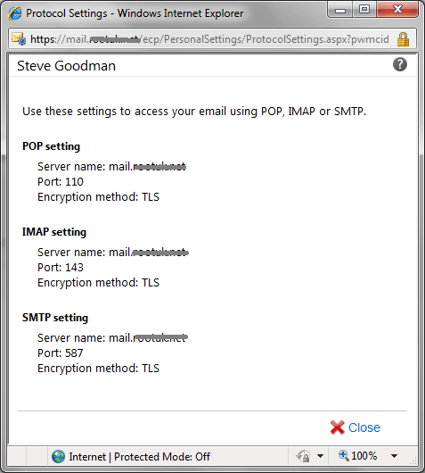 Publishing IMAP, POP and SMTP settings via Exchange 2010 OWA