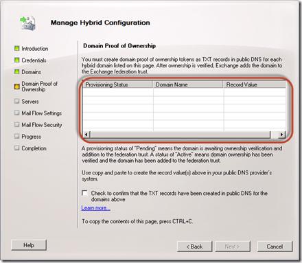 When running the Hybrid Configuration Wizard in Exchange