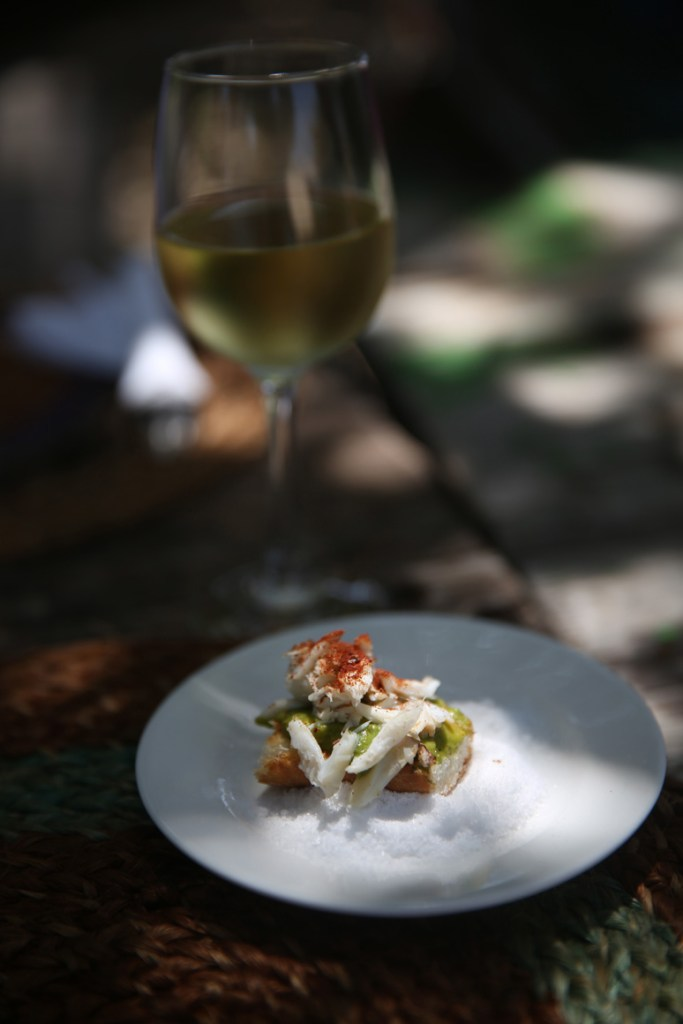 Fresh crab, avocado, paprika crostini with a nice glass of chilled white sauvignon.