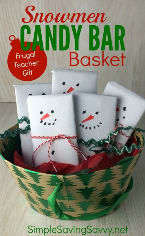 Snowmen Candy Bar Basket - Frugal Teacher Gift