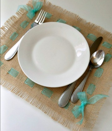 simple burlap and ribbon placemat