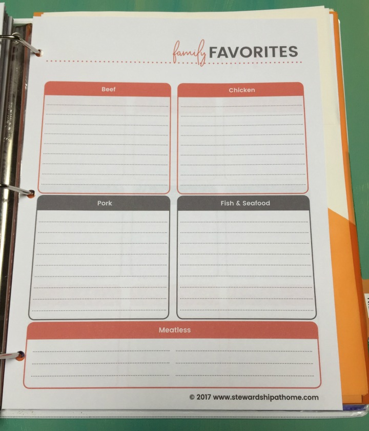 simple household planner family favorites printable page