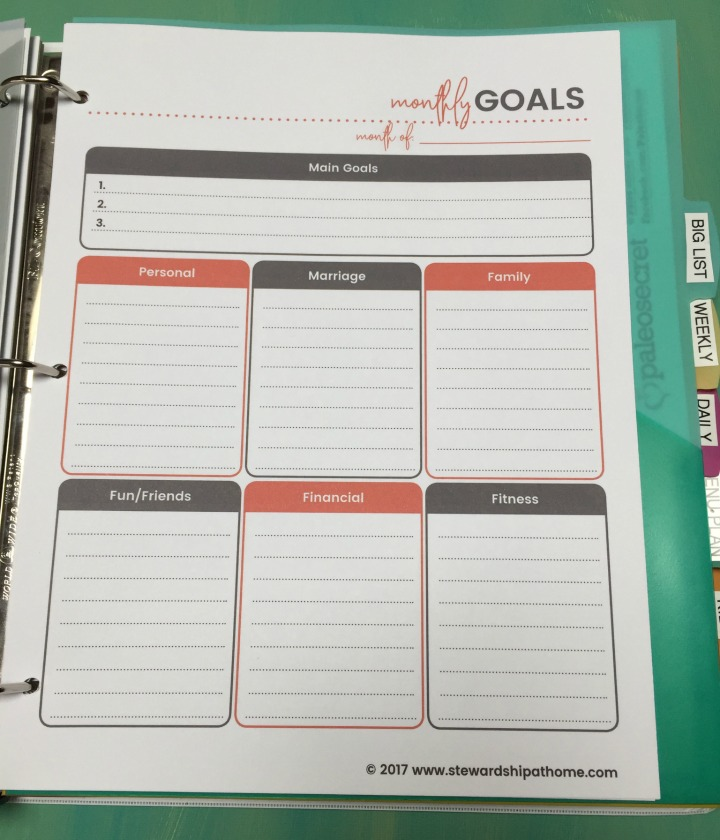 simple household planner monthly goals printable page