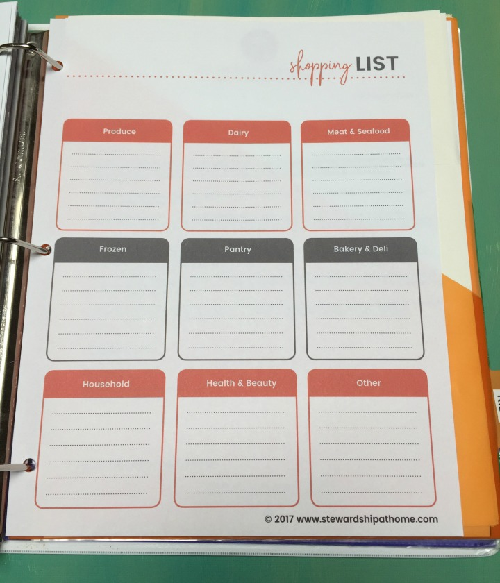 simple household planner shopping list printable page