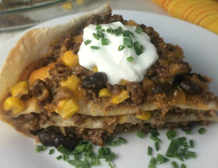 Beef Black Bean Tortilla Stack