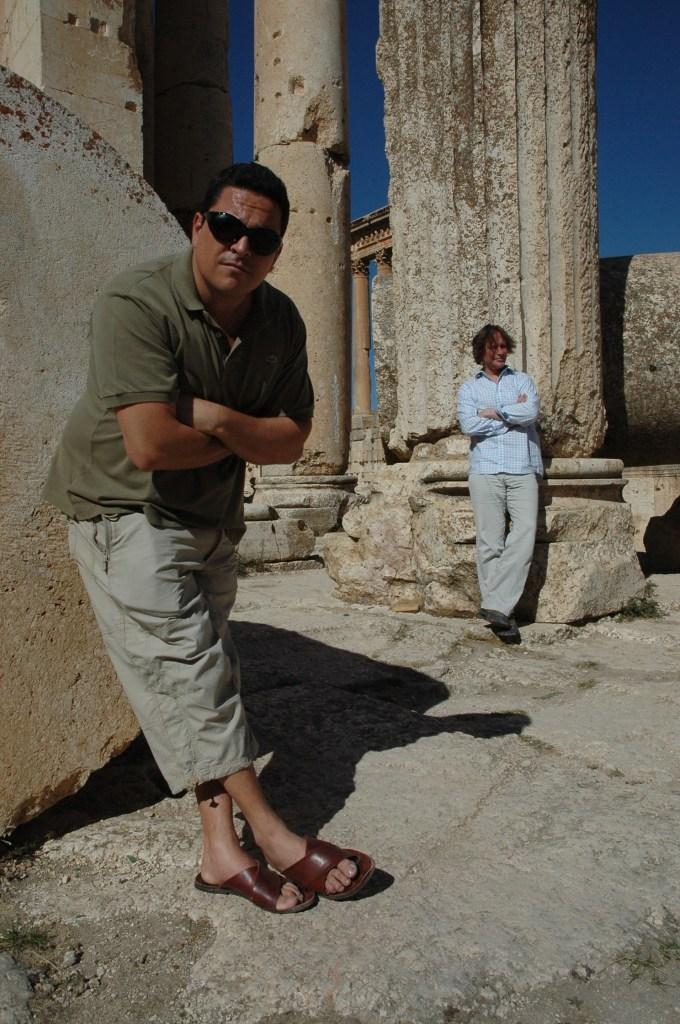 Stewart Innes Syria filming Palmyra Dom Joly One typical Dom Joly pose, Ba'albak, Lebanon