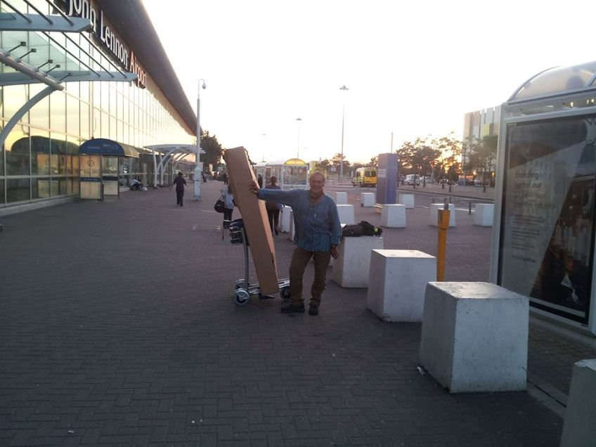 Stewart Innes Ghost Bike in transit arrived Liverpool from Amsterdam