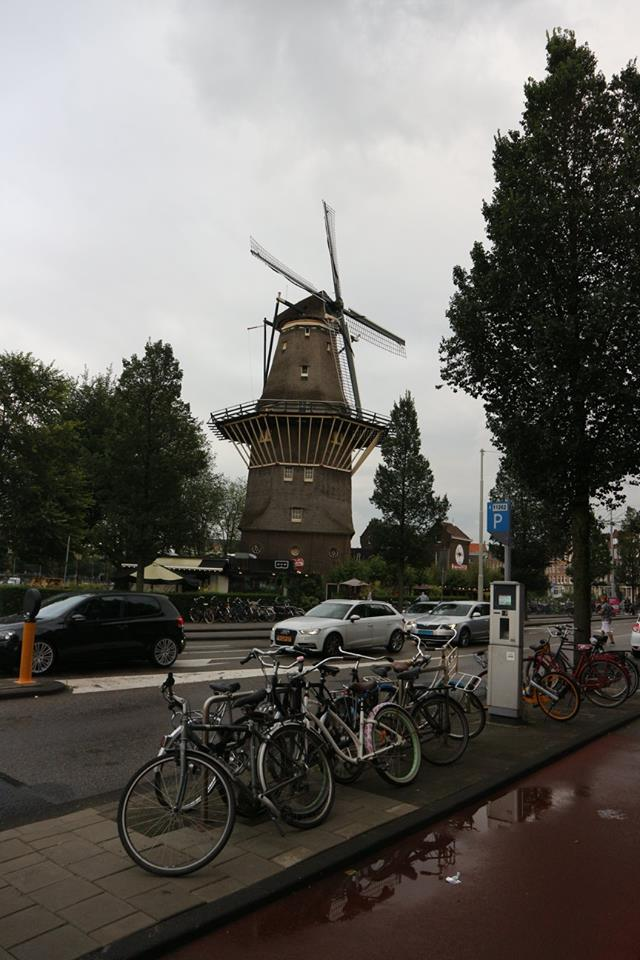 Ghost bike cycling holiday in Amsterdam Holland windmill