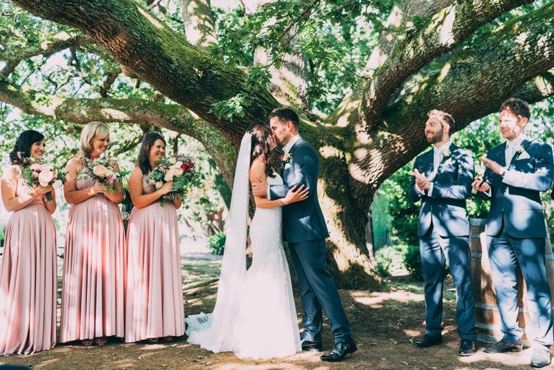 just married yarra valley wedding kiss