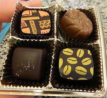 sampling of Claude's chocolates