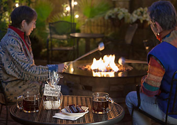 making s'mores at the gas fire pit