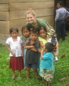 Colleen Kane with Mayan children