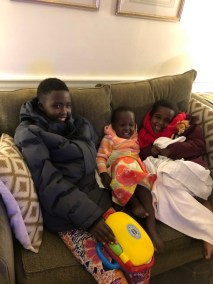 The girls all bundled up