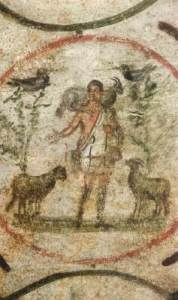 an earAn early fresco showing Jesus, the Good Shepherd, carrying a goat over his shouldres