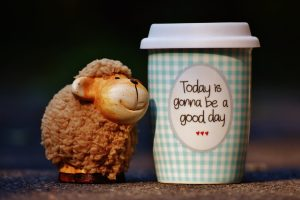 """toy monkey next to a cup reading """"Today is going to be a good day"""""""