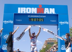 Ben Hoffman wins the title, Ironman St. George, May5, 2012   Photo by Todd Tischler, St. George News