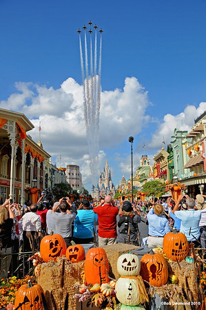 The US Air Force Thunderbirds do a flyover of Main Street USA in the Magic Kingdom, Walt Disney World, Orlando, Florida. © Bob Desmond 2010.