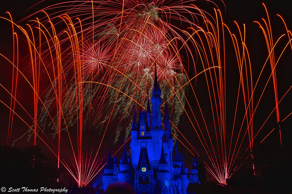 The Fantasia scene from Wishes, a fireworks show, in the Magic Kingdom, Walt Disney World, Orlando, Florida.