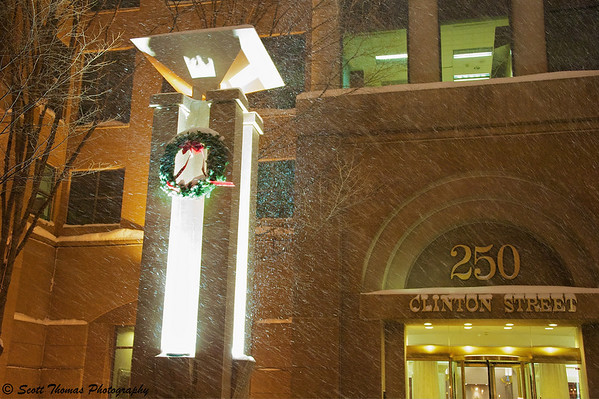 A Christmas wreath outside of 250 Clinton Street in downtown Syracuse, New York.