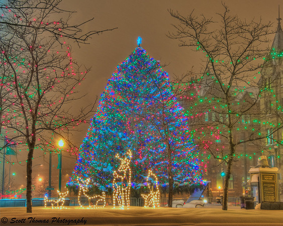 Clinton Square Christmas tree in downtown Syracuse, New York.