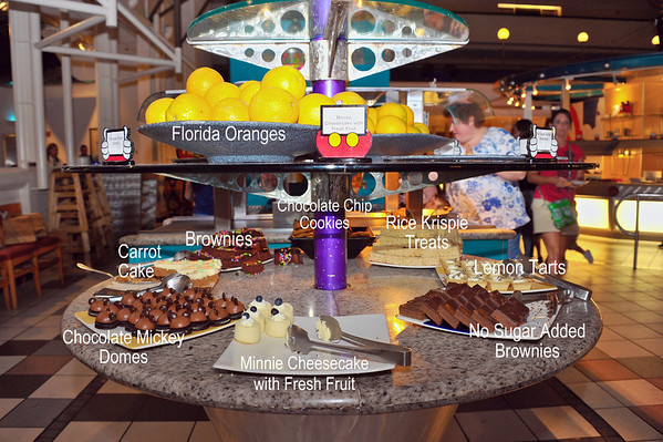 The dessert bar at Chef Mickey's restaurant in Disney's Contemporary Resort.