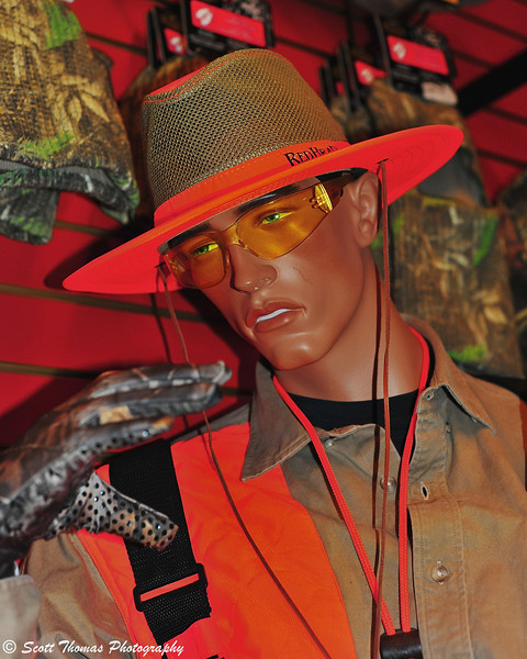 This mannequin is sporting the latest style in Hunter Safety Orange at the Bass Pro Shops of the Finger Lakes at the Finger Lakes Mall in Auburn, New York.