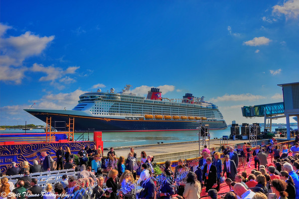 The Disney Dream awaiting its christening ceremony at Port Canaveral, Florida.