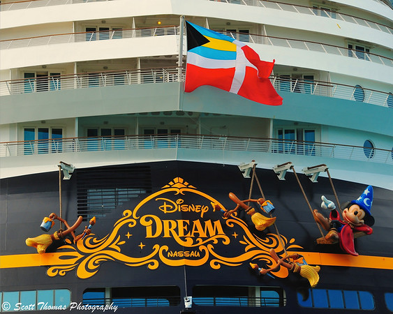 Sorcerer Mickey is featured on the stern of the Disney Dream.
