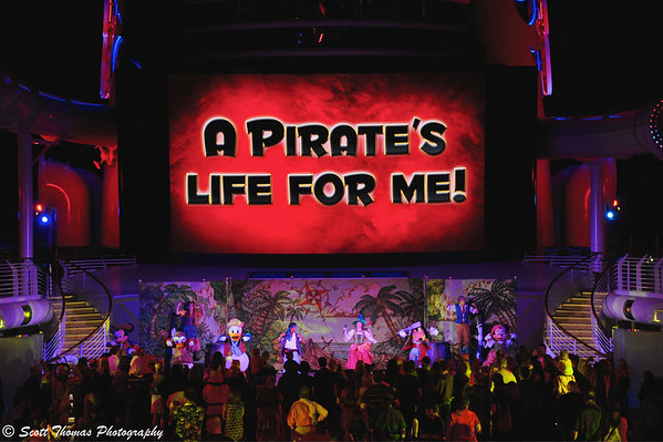 The state-of-the-art, 24-by-14 foot LED screen called Funnel Vision is used for shows, cartoons and movies on the Disney Dream.