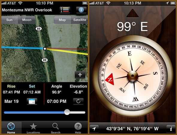 iPhone 4 apps used to track the Super Moon: LightTrac (left) and Compass (right).