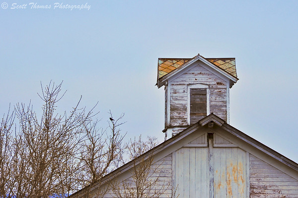Color correct roof line of an abandoned farm building near Baldwinsville, New York.