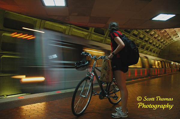 An example of a Creative Exposure: I choose a slower shutter speed of 1/15th of a second to blur the incoming metro train in Washington, D.C.