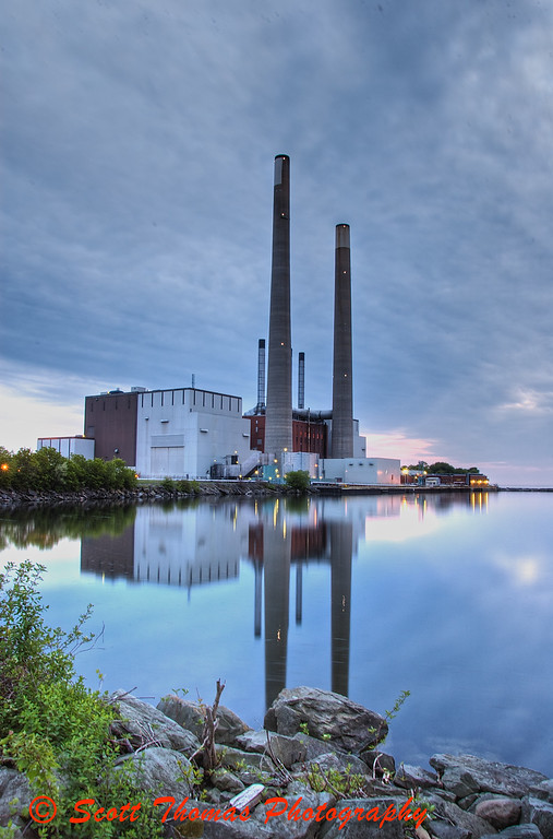 HDR image of the Oswego Power Plant on Lake Ontario.