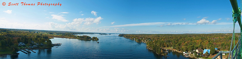 View of the St. Lawrence River from the US side span of the 1000 Islands Bridge in New York state. Click photo to see larger version.