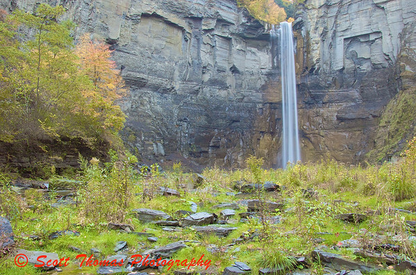 Water falls 215 feet over the Taughannock Falls near Ithaca, New York.
