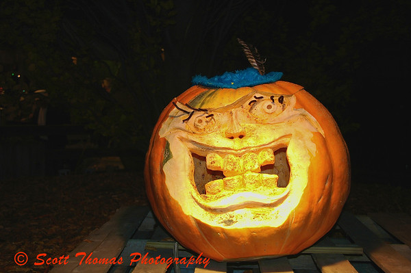 The largest pumpkin had a place of honor overlooking the festivities.  He seemed a bit of a joker type to me.