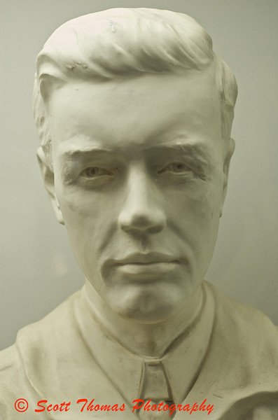 A porcelain bust of Charles Lindberg in the Ceramic collection at the Everson Museum of Art in Syracuse, New York.