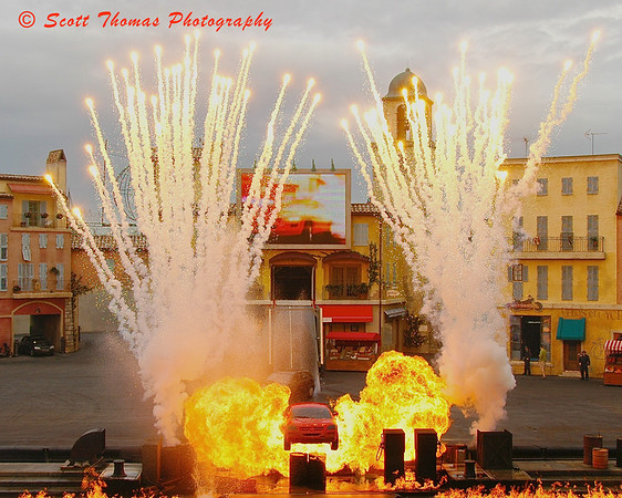 The explosive finale of Lights, Motors, Action Extreme Stunt Show in Disney's Hollywood Studio.